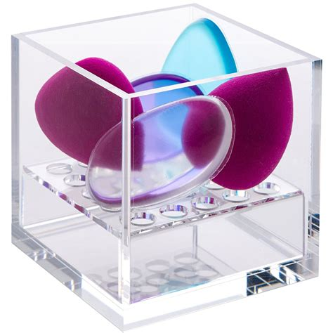 acrylic cube cosmetic organizer  beauty blender  sponge