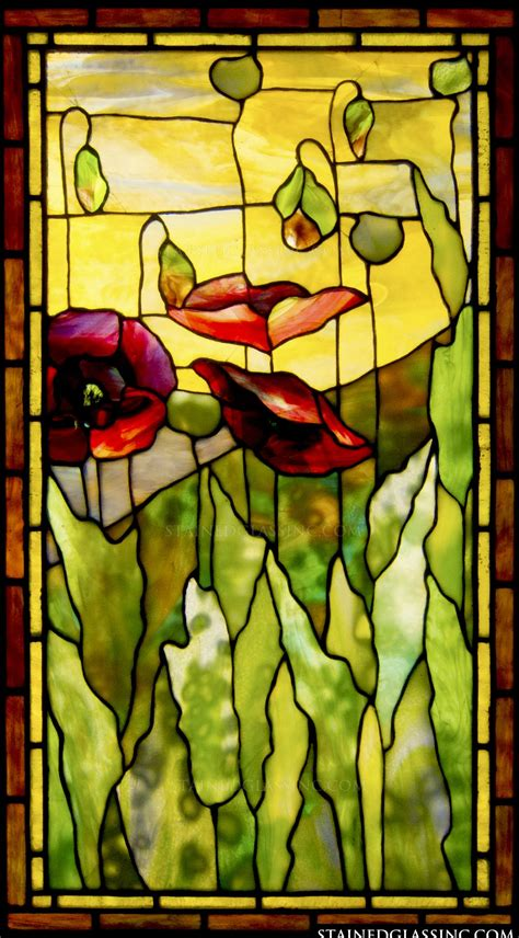tiffany stained glass l quot poppies tiffany quot stained glass window