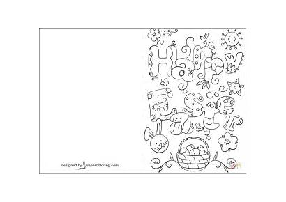 Easter Coloring Printable Cards Card Happy Pages