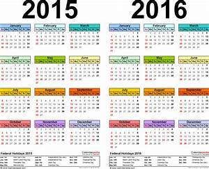 Template 1  Pdf Template For Two Year Calendar 2015  2016  Landscape Orientation  1 Page  In