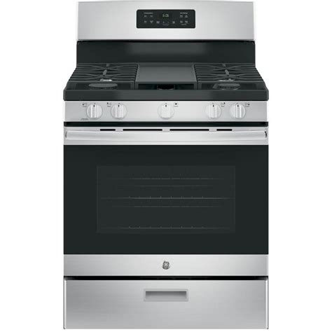 ge 30 in 5 0 cu ft free standing gas range in stainless steel jgbs66rekss the home depot