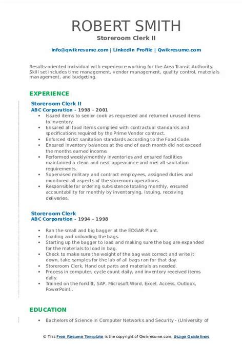 storeroom clerk resume samples qwikresume