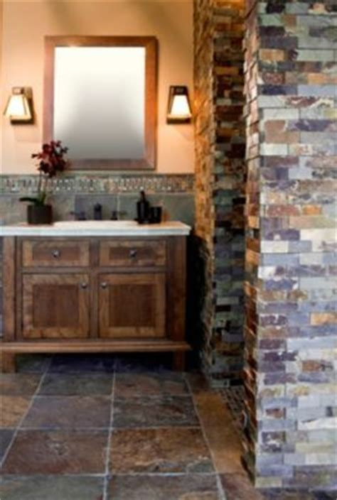 copper rust slate tile stylish bathroom rustic bathroom