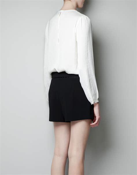 zara white blouse zara pleated blouse in white lyst