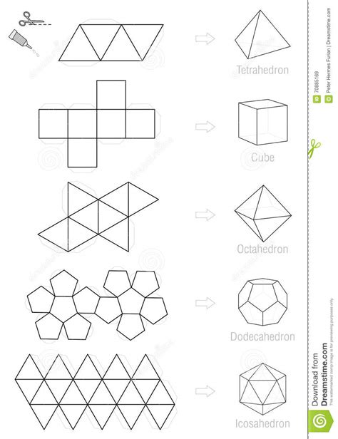 platonic solids craft pattern template stock vector
