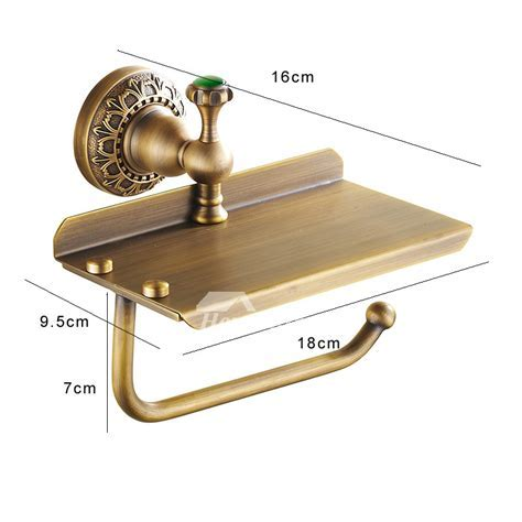 Unusual Rustic Antique Brass Toilet Paper Holder With Shelf