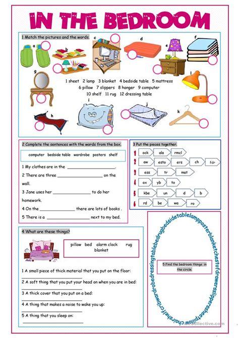 bedroom vocabulary exercises worksheet  esl