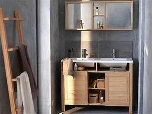 Meuble Salle De Bain En Teck Pas Cher : 12 meubles de salle de bains pas chers elle d coration ~ Teatrodelosmanantiales.com Idées de Décoration