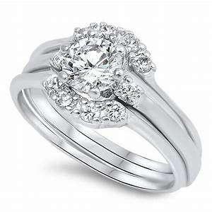 sterling silver cz halo 1 carat brilliant round cut with With silver ring guards for wedding bands