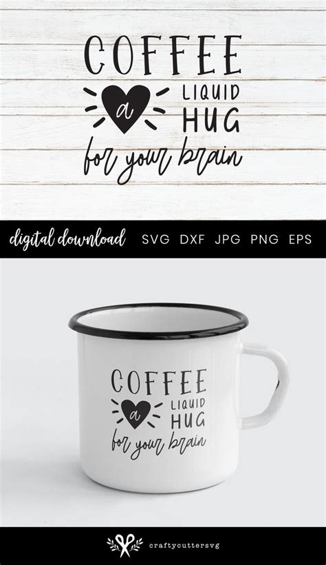 Coffee mug svg files galore! Funny Coffee Mug Svg Clipart, Coffee a liquid hug for your brain, Coffee Quote File for Cricut ...