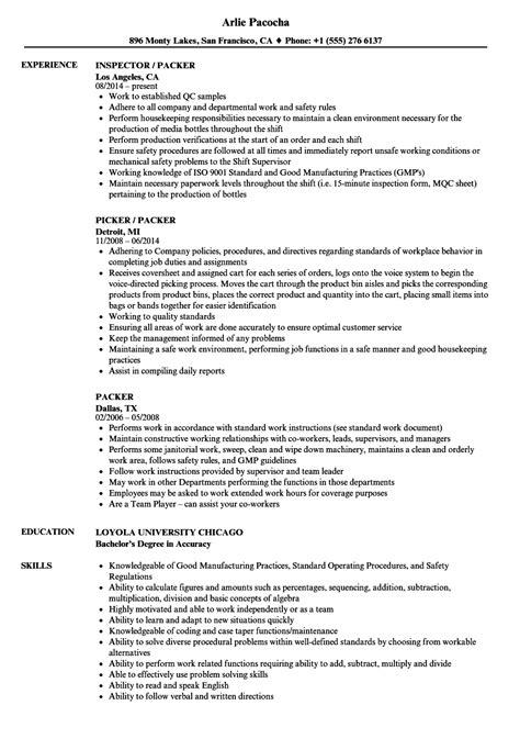 Picker Packer Resume Sle by Packer Resume Sle Bijeefopijburg Nl