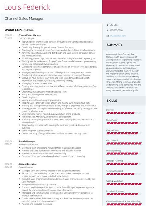Channel Sales Manager Resume Sle by Channel Sales Manager Resume Sles Templates Visualcv