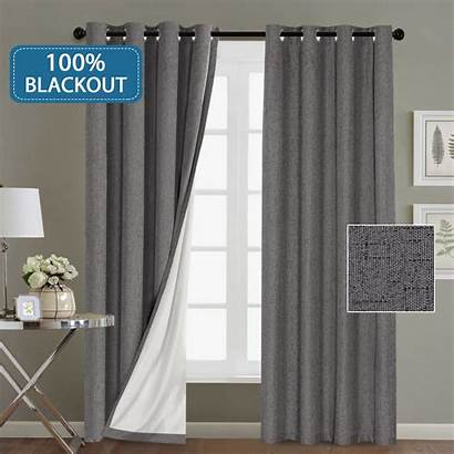 Curtains Blackout Window Grey Grommet Curtain Linen