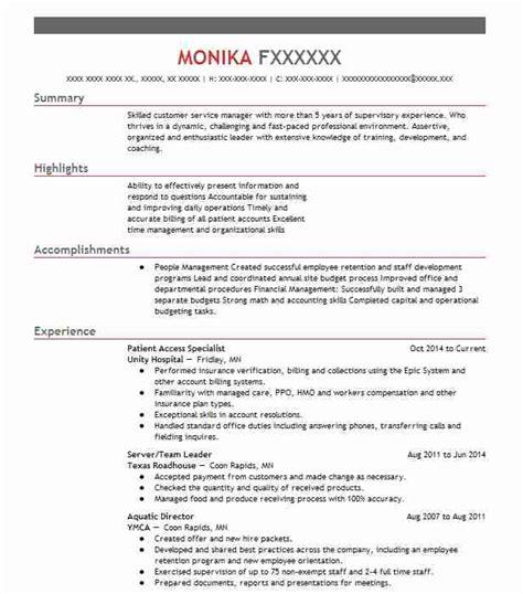 Patient Access Representative Resume by Patient Access Representative Duties