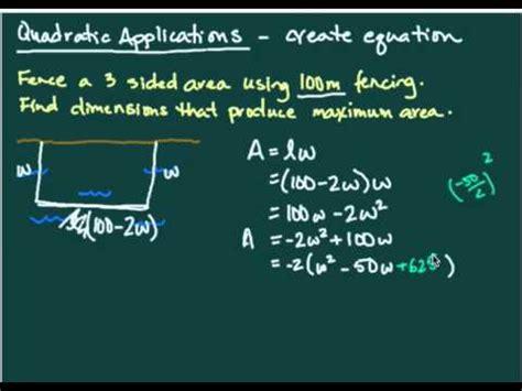 quadratic applications maximizing area youtube