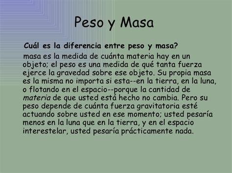 diferencia entre peso y masa 1