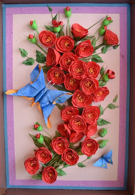 paper quilling rose wall art crafts  arts ideas