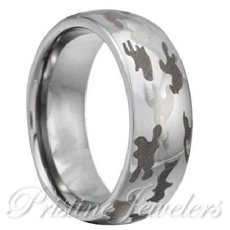 tungsten mens army camouflage ring black silver snow camo