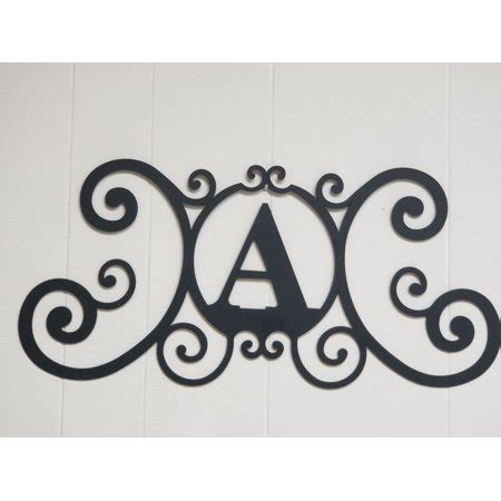 scrolled iron metal letter  monogram personalized initial wall art family  plaque
