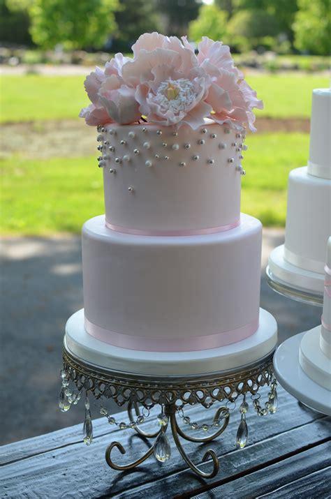 blush  silver wedding cakes  sugar peonies