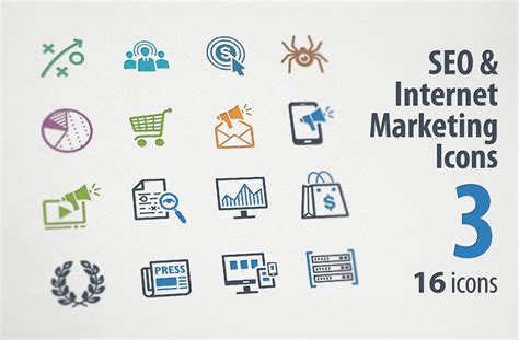 Web Marketing by Seo Marketing Icons 3 Icons Creative Market