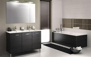 emejing decoration salle de bain noir et blanc gallery With salle de bain design avec evier resine noir