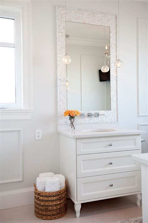 Mother of Pearl Tiled Mirror   Transitional   Bathroom