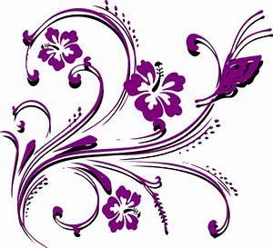 Butterfly Scroll Purple Clip Art at Clker.com - vector ...