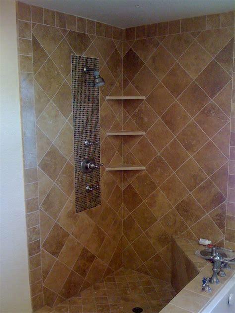 mosaic tile corner shelving bathroom porter ranch