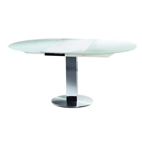 table a manger ronde en verre table ronde de salle 224 manger 224 rallonge en verre blanc vera achat vente table a manger