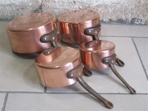 vintage french copper cookware  images cookware set copper pots french vintage