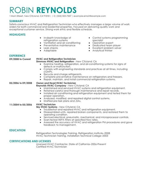 Hvac Installer Resume Exles by Hvac Technician Resume Best Resume Exle