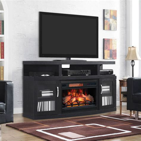 cantilever cabinet embossed oak  infrared firebox