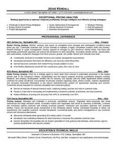 pricing analyst resume template exle pricing analyst resume free sle