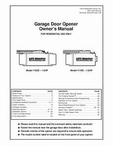 Chamberlain Garage Door Opener 1160 User U0026 39 S Guide
