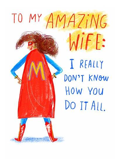 Wife Cards Mother Funny Mothers Card Superhero