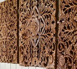 Ornate carved wood panel wall art set of pottery barn