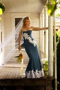lace country wedding dresses unique denim and lace country wedding dress by bellavittoria