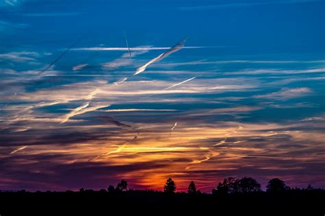 photo sunset setting sun evening sky  image
