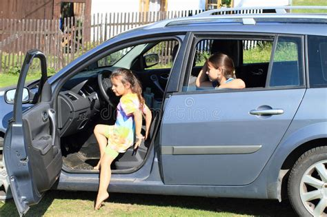 Girls Leaving A Car Stock Photo. Image Of Child, Children