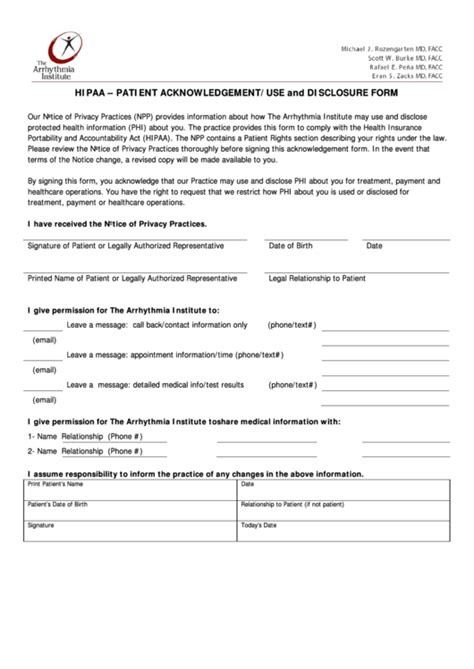 hipaa patient acknowledgementuse  disclosure form