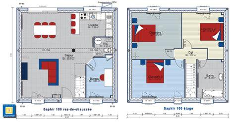 plan maison etage 3 chambres maison avec étage avec grand salon séjour bureau 3