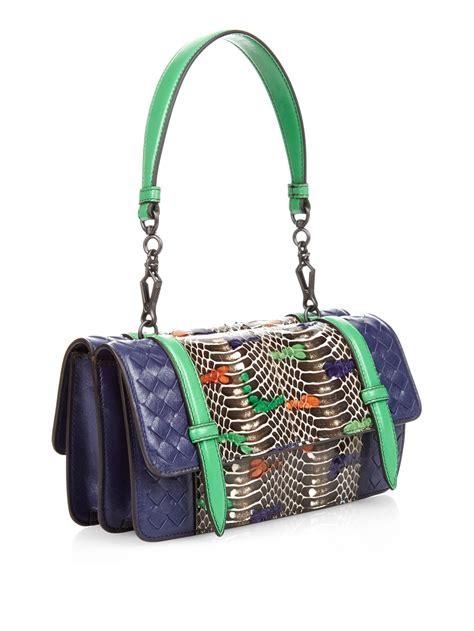 lyst bottega veneta intrecciato leather  snakeskin shoulder bag  blue