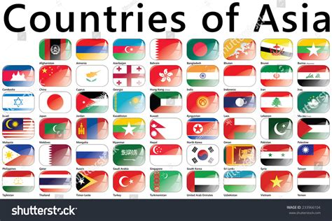 Flags Of Asia; Countries Of Asia; National Flags Stock
