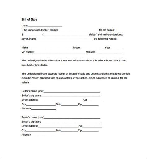 auto bill of sale template 8 auto bill of sale templates to sle templates