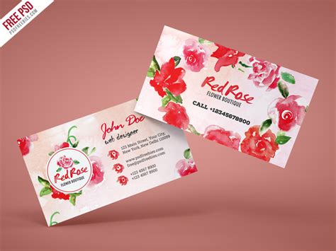 Flower Shop Business Card Free Psd Template Download Business Card Light Font Online Design Free Download Template For Photoshop Marble Software Developer Square Mockup Bespoke Holders Construction