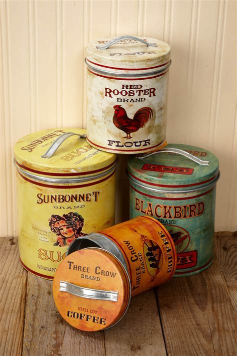 Four Retro Farmhouse Metal Canisters