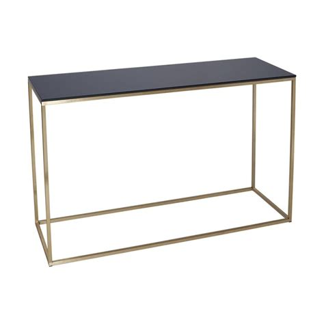 black glass console table buy black glass and gold metal console table from fusion