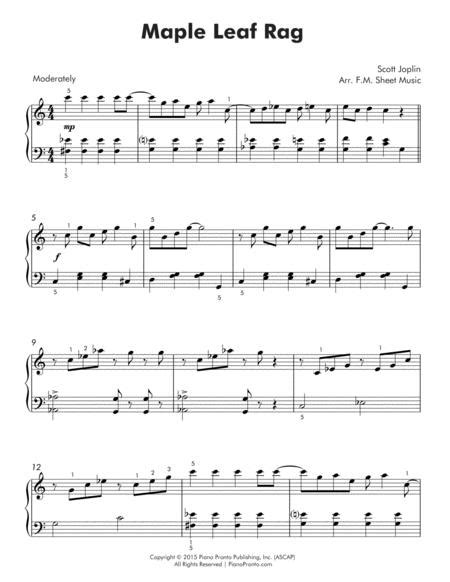 Free printable sheet music for maple leaf rag by scott joplin for easy/level 3 piano solo. Preview Maple Leaf Rag (Easy Piano) (S0.396281) - Sheet Music Plus