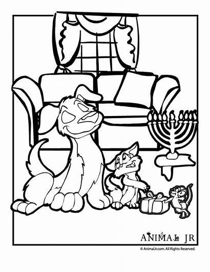 Hanukkah Coloring Cat Dog Mouse